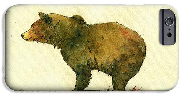 Grizzly iPhone Cases - Grizzly bear watercolor painting iPhone Case by Juan  Bosco
