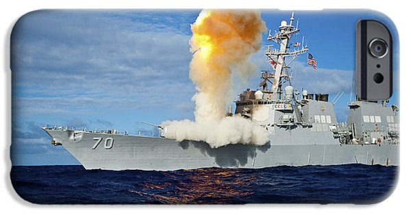 Stellar iPhone Cases - Guided Missile Destroyer Uss Hopper iPhone Case by Stocktrek Images
