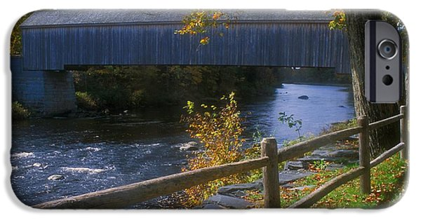 Covered Bridge iPhone Cases - Guilford Covered Bridge iPhone Case by John Burk
