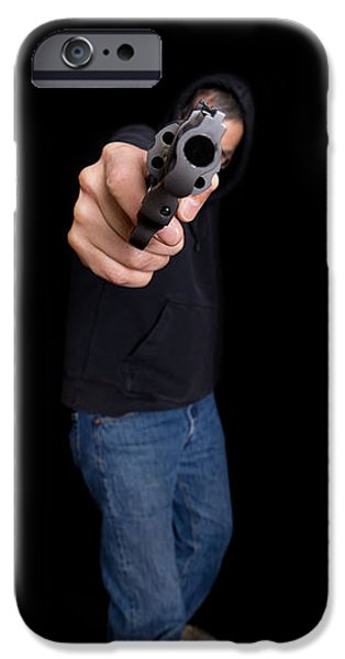 Detectives iPhone Cases - Gun Man iPhone Case by Edward Fielding