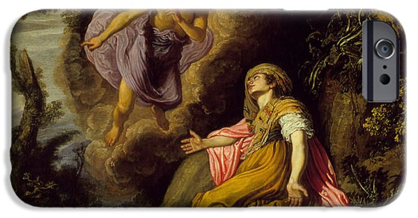 Hovering iPhone Cases - Hagar and the Angel iPhone Case by Pieter Lastman