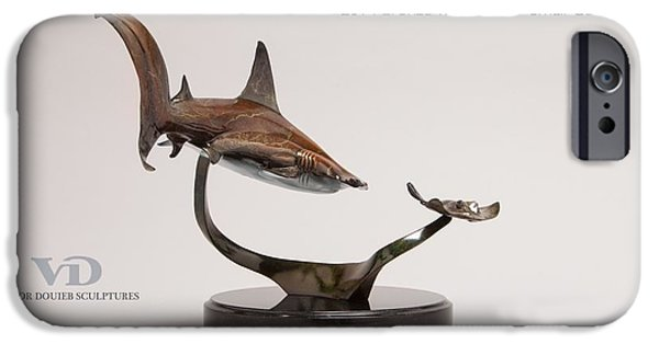 Sharks Sculptures iPhone Cases - Hammerhead with Stingray iPhone Case by Victor Douieb