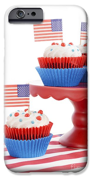 Independance Day iPhone Cases - Happy Fourth of July Cupcakes on Red Stand iPhone Case by Milleflore Images