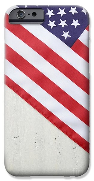 Independance Day iPhone Cases - Happy Fourth of July USA Flag on White Wood Table iPhone Case by Milleflore Images
