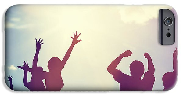 Women Together iPhone Cases - Happy friends family jumping together having fun iPhone Case by Michal Bednarek
