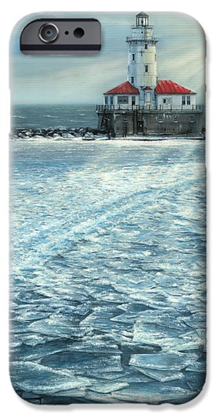 Chicago Paintings iPhone Cases - Harbor Light iPhone Case by Doug Kreuger
