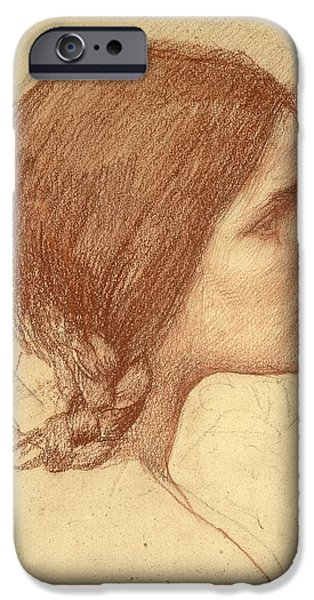 Hair Drawings iPhone Cases - Head of a Girl iPhone Case by John William Waterhouse