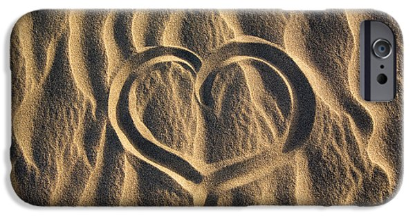 Serenity Scenes iPhone Cases - Heart on sand iPhone Case by Kati Molin