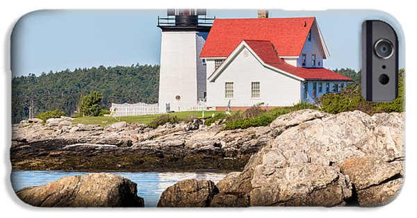 Ledge iPhone Cases - Hendricks Head Lighthouse Southport Island Maine iPhone Case by Dawna  Moore Photography