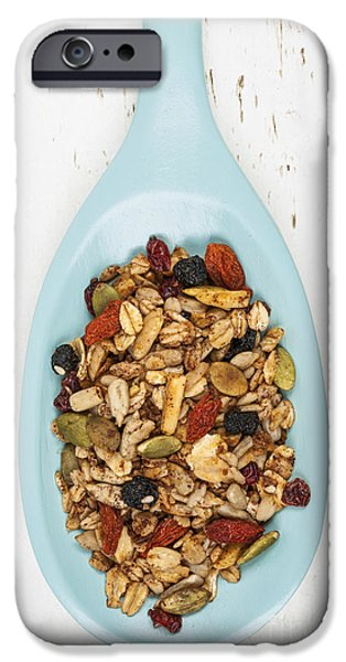 Berry iPhone Cases - Homemade granola in spoon iPhone Case by Elena Elisseeva