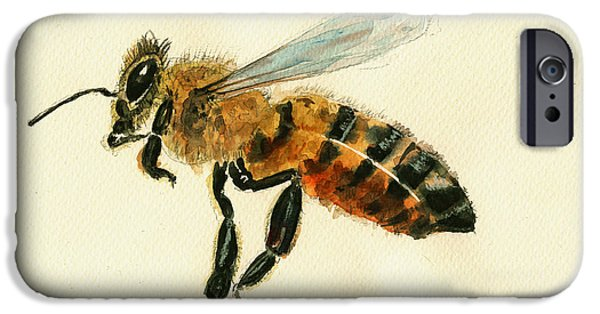 Insect iPhone Cases - Honey bee watercolor painting iPhone Case by Juan  Bosco