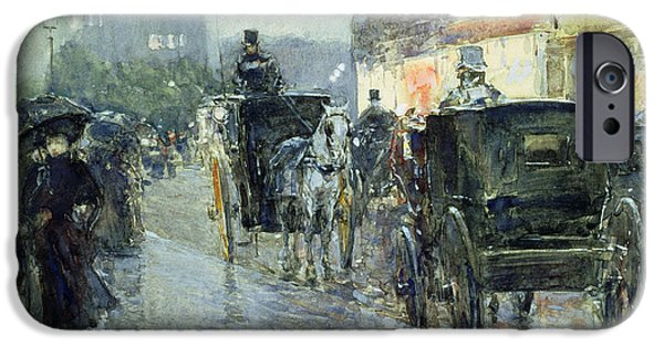 Nineteenth Paintings iPhone Cases - Horse Drawn Cabs at Evening in New York iPhone Case by Childe Hassam