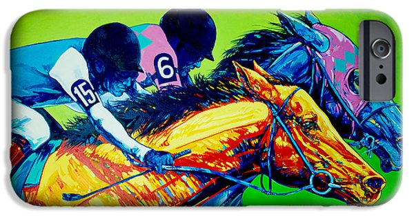 Horse Racing iPhone Cases - Horse Race iPhone Case by Derrick Higgins