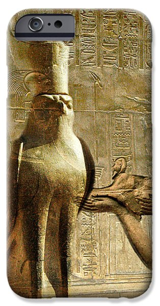 Horus iPhone Cases - Horus and Pharaoh iPhone Case by Erika Kaisersot