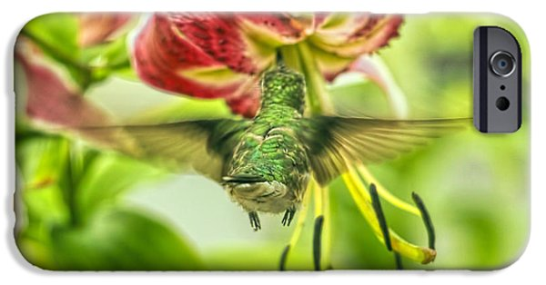 Florescent Lighting Digital iPhone Cases - Hummingbird And Pendant Flower iPhone Case by Geraldine Scull