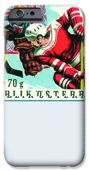 Hockey Paintings iPhone Cases - Ice-Hockey iPhone Case by Lanjee Chee