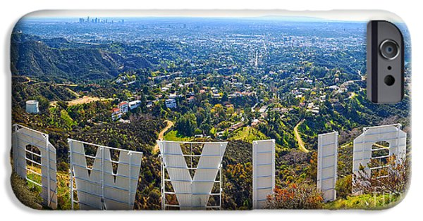 Sign iPhone Cases - Iconic Hollywood  iPhone Case by Art K