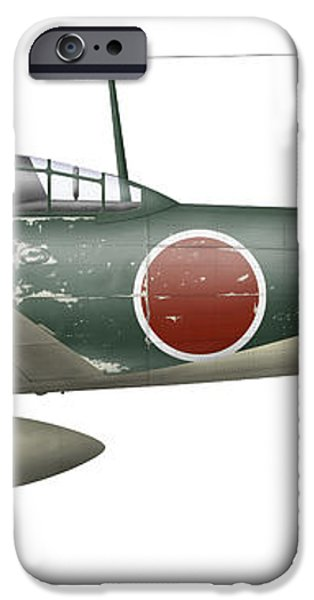 Illustration Of A Mitsubishi A6m2 Zero iPhone Case by Inkworm
