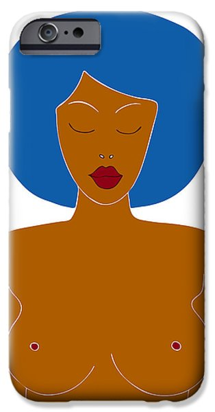 Shower Curtain iPhone Cases - Illustration of a woman iPhone Case by Frank Tschakert