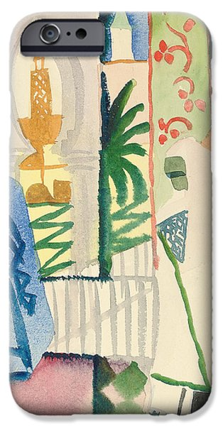 Figures iPhone Cases - In the Temple Hall iPhone Case by August Macke