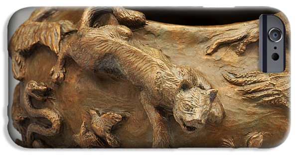 Wild Animals Reliefs iPhone Cases - In the Wild - Detail iPhone Case by Dawn Senior-Trask