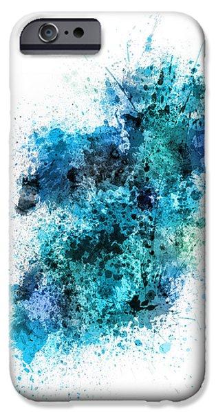 Ireland iPhone Cases - Ireland Map Paint Splashes iPhone Case by Michael Tompsett