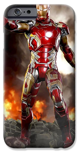 Shield iPhone Cases - Iron Man - No Battle Damage iPhone Case by Paul Tagliamonte