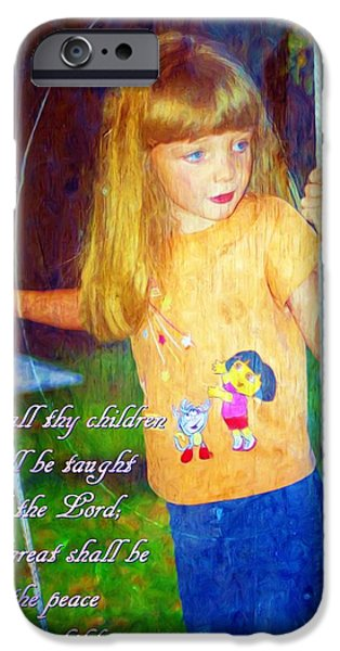 Little Girl iPhone Cases - Isaiah 54 13 iPhone Case by Michelle Greene Wheeler