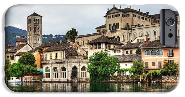 Boat House iPhone Cases - Island of San Giulio on Lake Orta iPhone Case by Joana Kruse