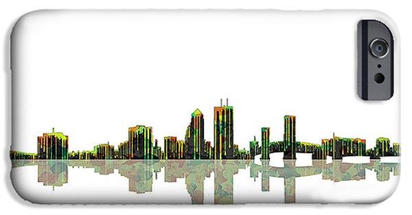 City Scape Digital Art iPhone Cases - Jacksonville Florida  Skyline iPhone Case by Marlene Watson