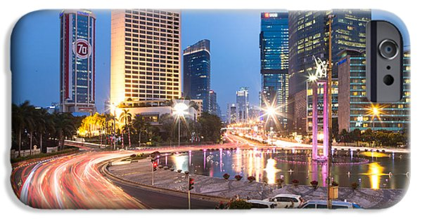 Business Photographs iPhone Cases - Jakarta night rush iPhone Case by Didier Marti