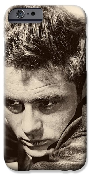 1950s Portraits iPhone Cases - James Dean 1955 iPhone Case by Dr Macro