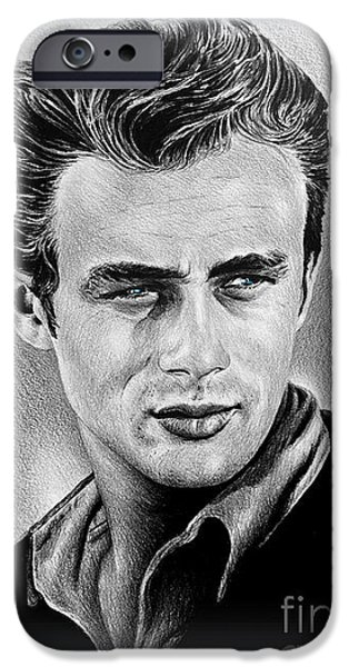 1950s Portraits iPhone Cases - James Dean  iPhone Case by Andrew Read