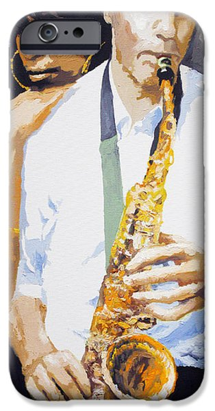 Figurativ iPhone Cases - Jazz Muza Saxophon iPhone Case by Yuriy  Shevchuk