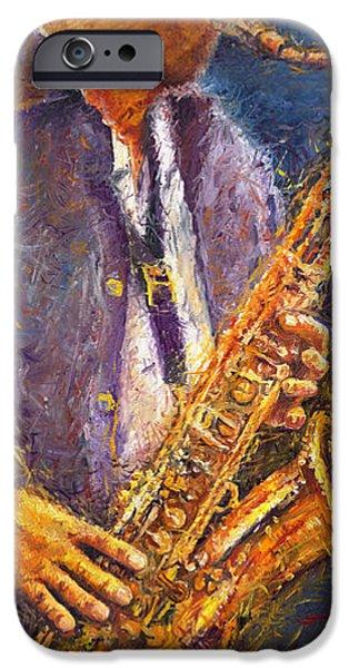 Jazz Paintings iPhone Cases - Jazz Saxophonist iPhone Case by Yuriy  Shevchuk
