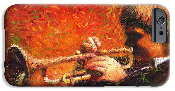 Jazz Paintings iPhone Cases - Jazz Trumpeter iPhone Case by Yuriy  Shevchuk