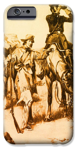 Candidate iPhone Cases - J.c. Fremont And His Guide, Kit Carson iPhone Case by Photo Researchers