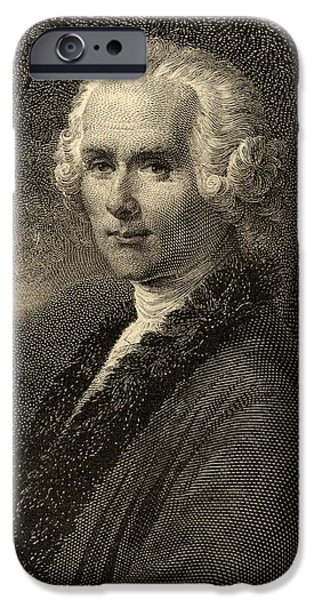 Swiss Drawings iPhone Cases - Jean-jacques Rousseau, 1712-1778. Swiss iPhone Case by Ken Welsh