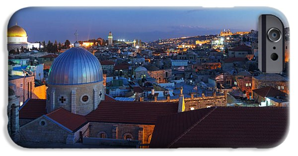 Cathedral Rock iPhone Cases - Jerusalem Old City at Night Israel iPhone Case by Rostislav Ageev