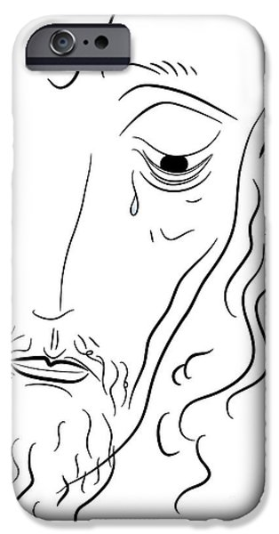 Torn Drawings iPhone Cases - Jesus Christ iPhone Case by Michal Boubin