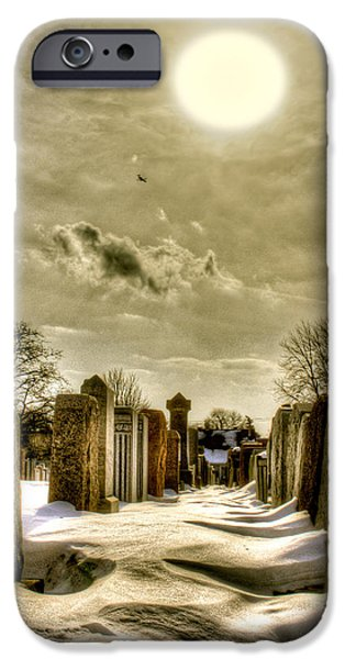 Cemetary iPhone Cases - Jewish cemetery #2 iPhone Case by Marc Daneau