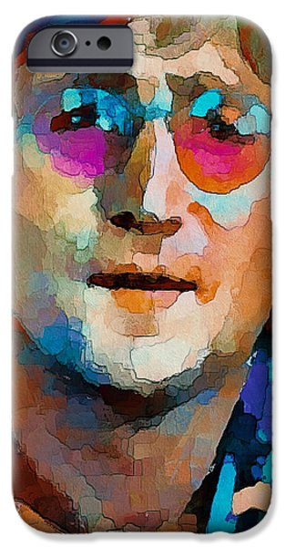 Nature Abstracts iPhone Cases - John Lennon Colors 2 iPhone Case by Yury Malkov