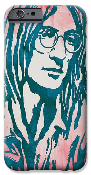 Beatles iPhone Cases - John Lennon Pop Stylised Art Sketch Poster iPhone Case by Kim Wang