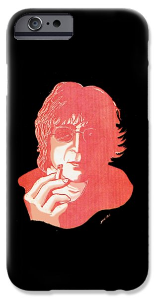 Beatles iPhone Cases - John Winston Lennon iPhone Case by Dave Ell