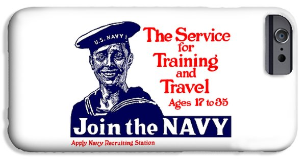 Navy iPhone Cases - Join The Navy - The service for training and travel iPhone Case by War Is Hell Store