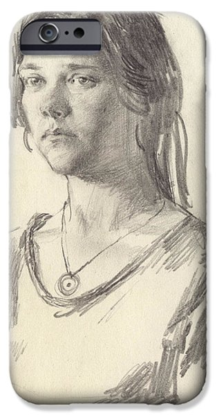 Graphite Drawing iPhone Cases - Julia iPhone Case by Victoria Kharchenko