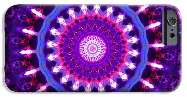 Abstract Digital iPhone Cases - Kaleidoscope mandala 15 iPhone Case by Belma Prses