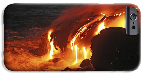 No People iPhone Cases - Kilauea Lava Flow Sea Entry, Big iPhone Case by Martin Rietze