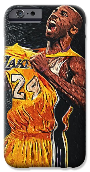 Lebron iPhone Cases - Kobe Bryant iPhone Case by Taylan Soyturk