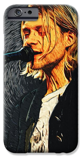 Dave Grohl iPhone Cases - Kurt Cobain iPhone Case by Taylan Soyturk